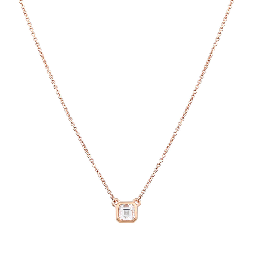 Asscher Topaz Necklace // Rose Gold - Lucy & Mui
