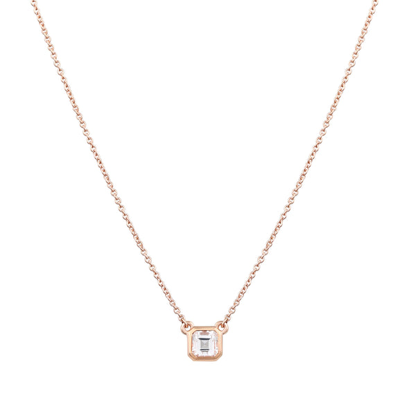 Asscher Topaz Necklace // Rose Gold