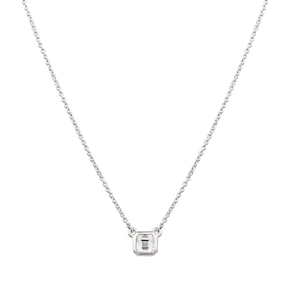 Asscher Topaz Necklace // White Gold