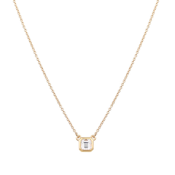 Asscher Topaz Necklace // Gold