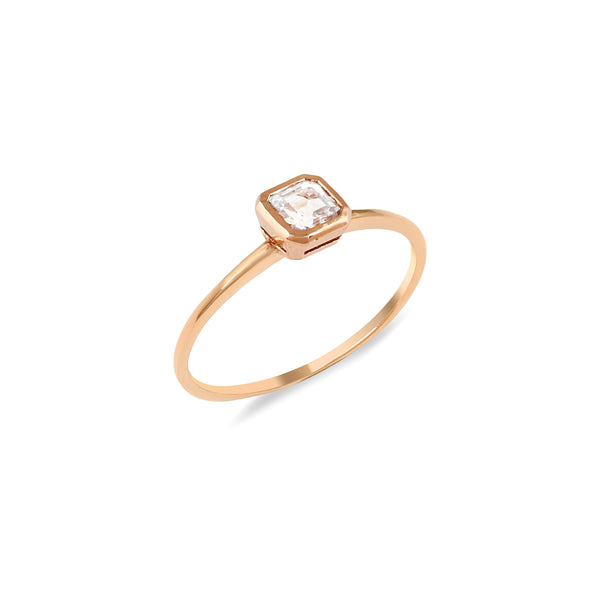 Asscher Topaz Engagement Ring // Rose Gold