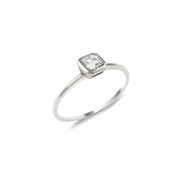 Asscher Topaz Engagement Ring // White Gold