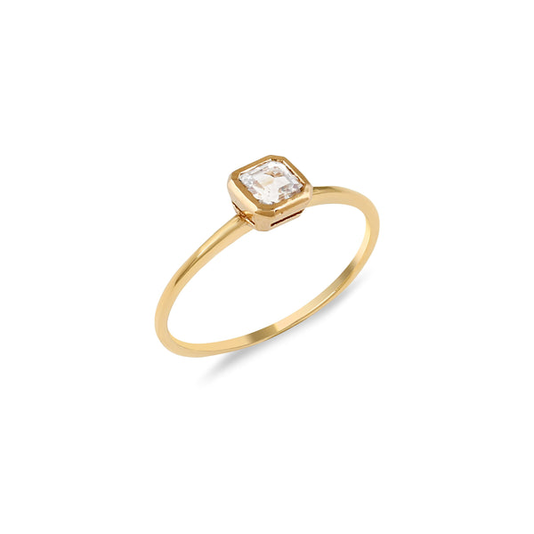 Asscher Topaz Engagement Ring // Gold