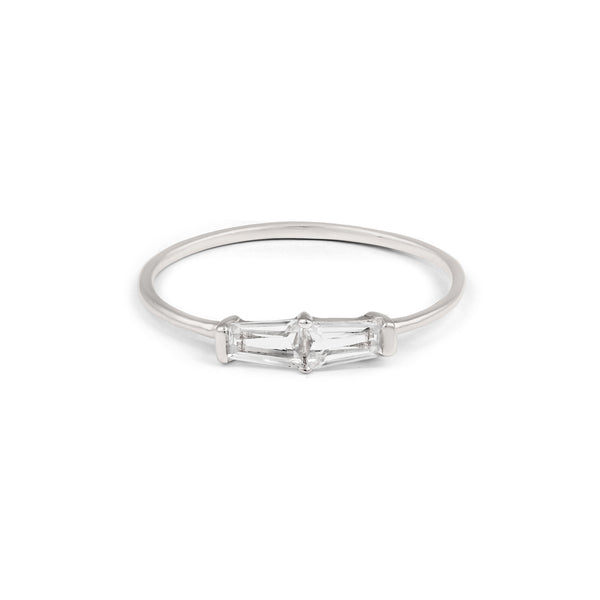 Tapered Baguette Ring // White Gold