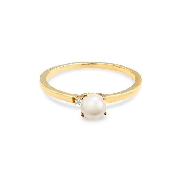 Tiffany Pearl Diamond Engagement Ring // Gold
