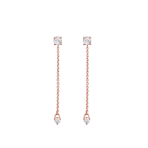 Fireworks Diamond Tassel Earrings // Rose Gold
