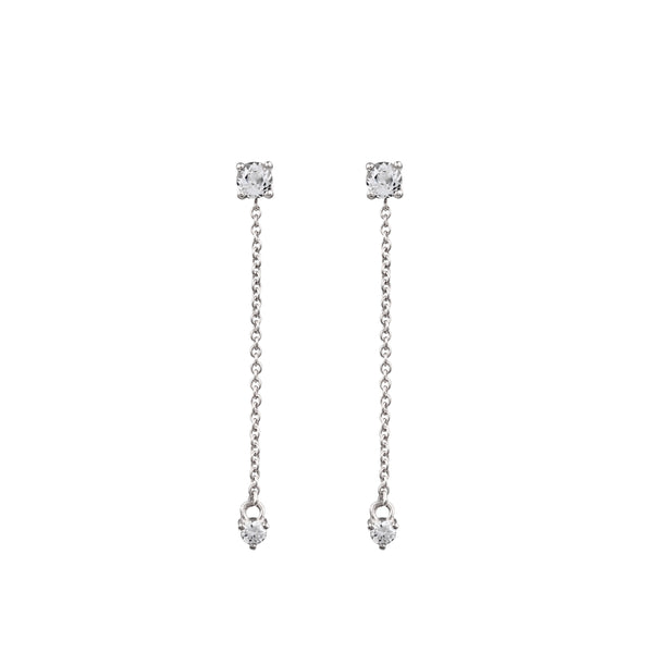Fireworks Diamond Tassel Earrings // White Gold