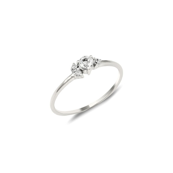 Corsage Diamond Engagement Ring // White Gold