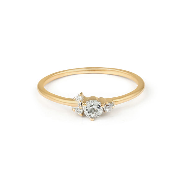 Corsage Diamond Engagement Ring // Gold