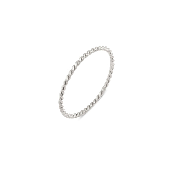 Plain Twist Stacking Ring // White Gold