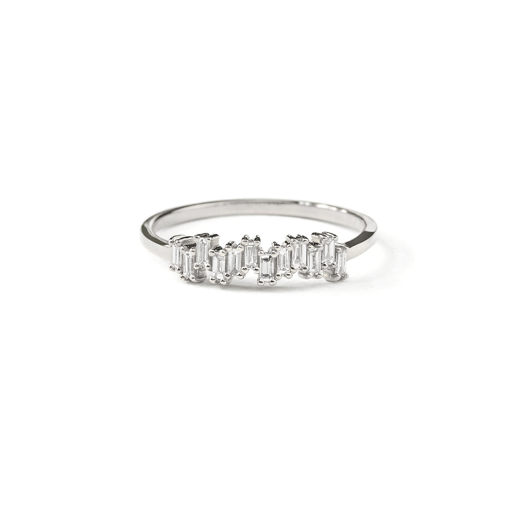 Step Baguette Diamond Wedding Band // White Gold – Lucy & Mui