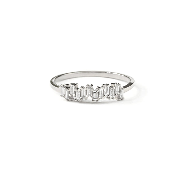Step Baguette Diamond Wedding Band // White Gold