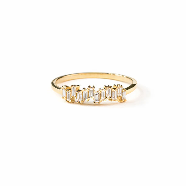 Step Baguette Diamond Wedding Band // Gold