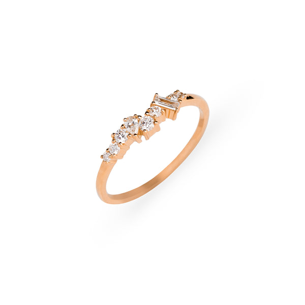 Mist Cluster Diamond Wedding Band // Rose Gold