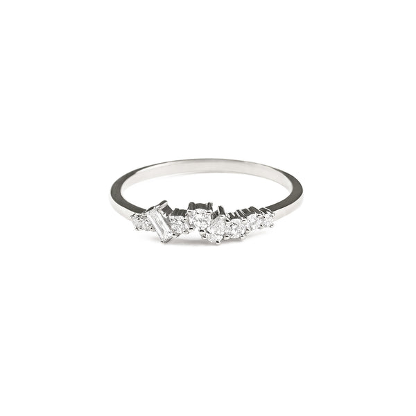 Mist Cluster Diamond Wedding Band // White Gold