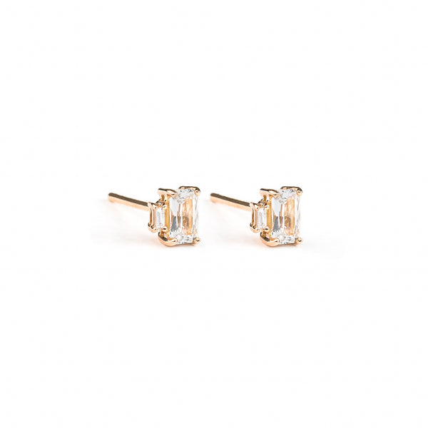 Sapphire Baguette Diamond Earrings // Rose Gold