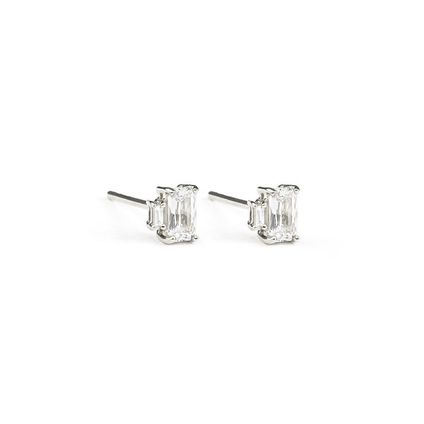 Sapphire Baguette Diamond Earrings // White Gold