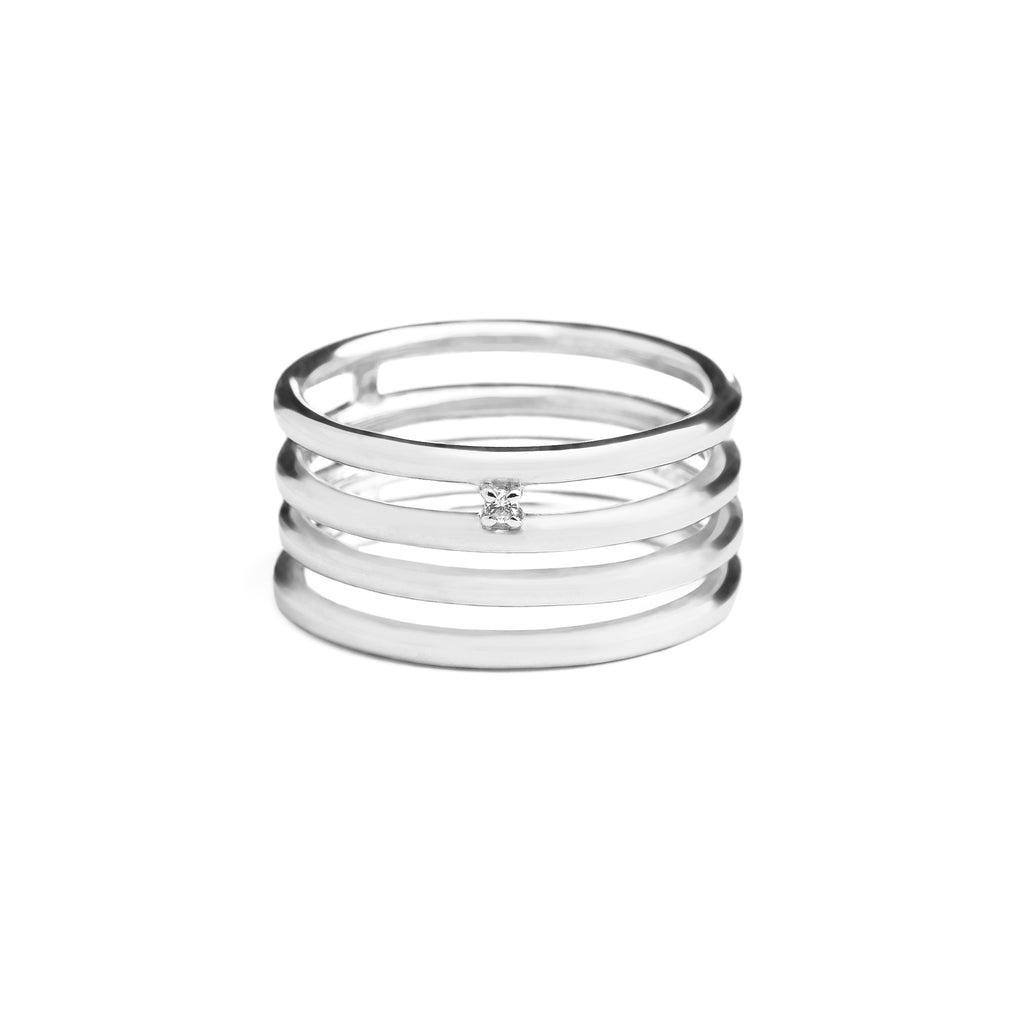 Multiband Linear Sapphire Ring // Silver
