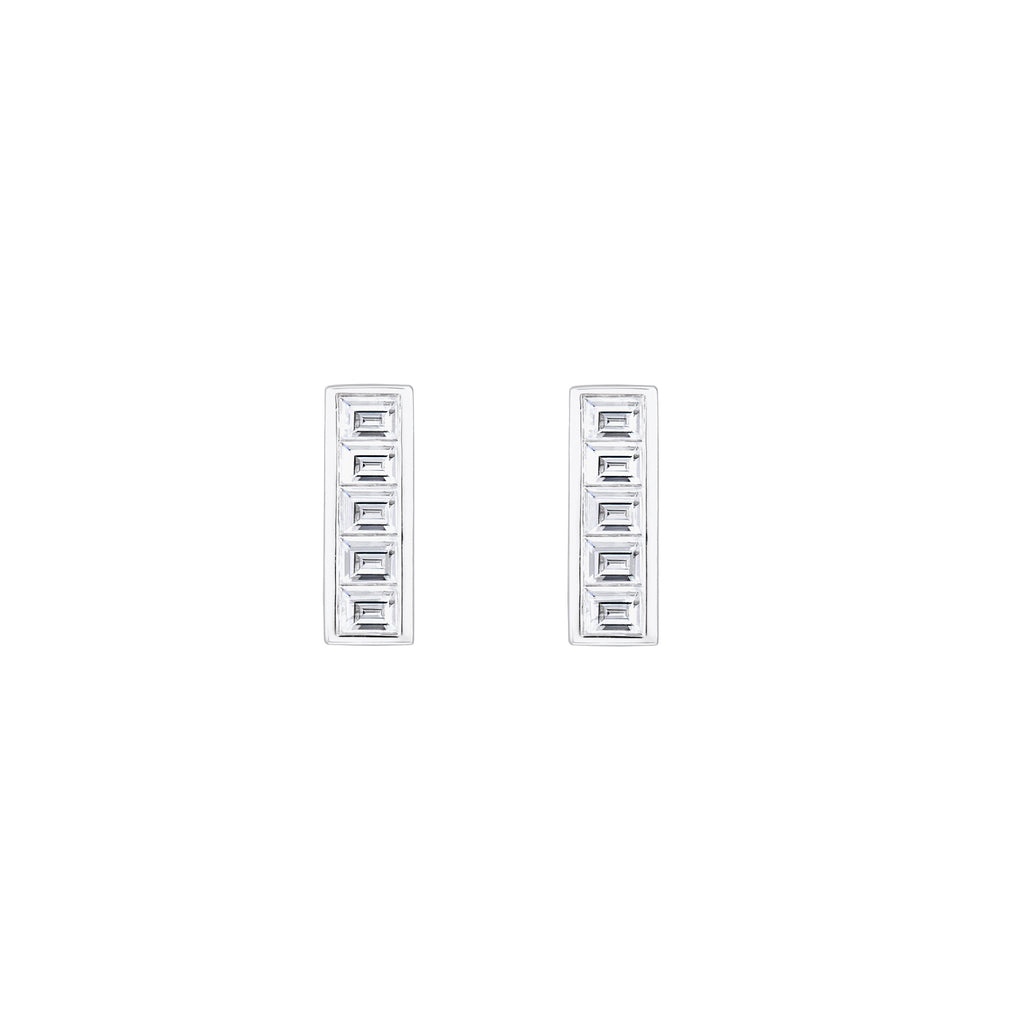 Deco Baguette Diamond Earrings // White Gold