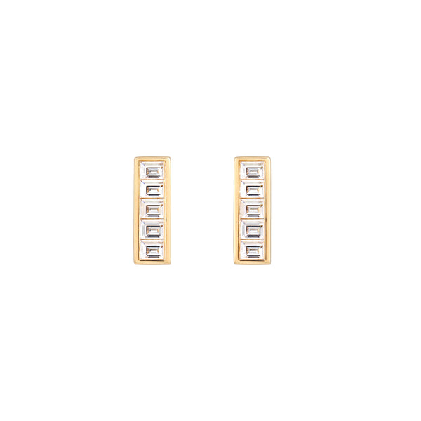 Deco Baguette Diamond Earrings // Gold