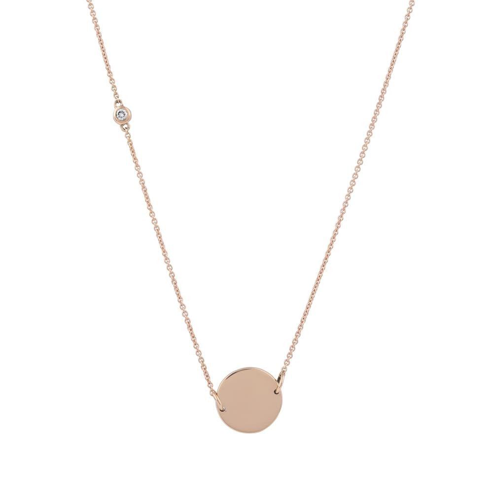 Asymmetrical Diamond Disc Necklace // Rose Gold - Lucy & Mui
