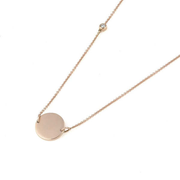 Asymmetrical Diamond Disc Necklace // Rose Gold