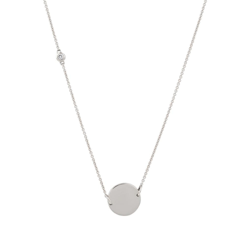 Asymmetrical Diamond Disc Necklace // White Gold - Lucy & Mui