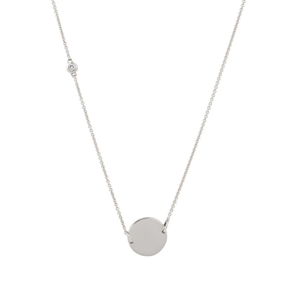 Asymmetrical Diamond Disc Necklace // White Gold