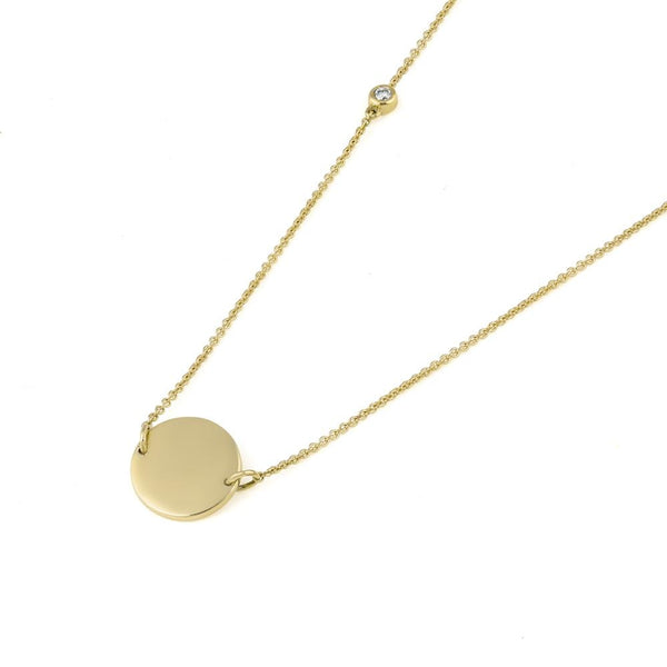 Asymmetrical Diamond Disc Necklace // Gold