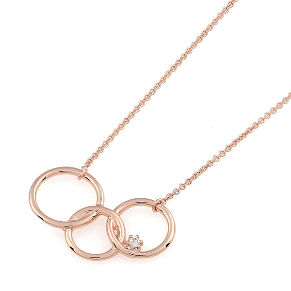 Interlinked Circle Diamond Necklace // Rose Gold