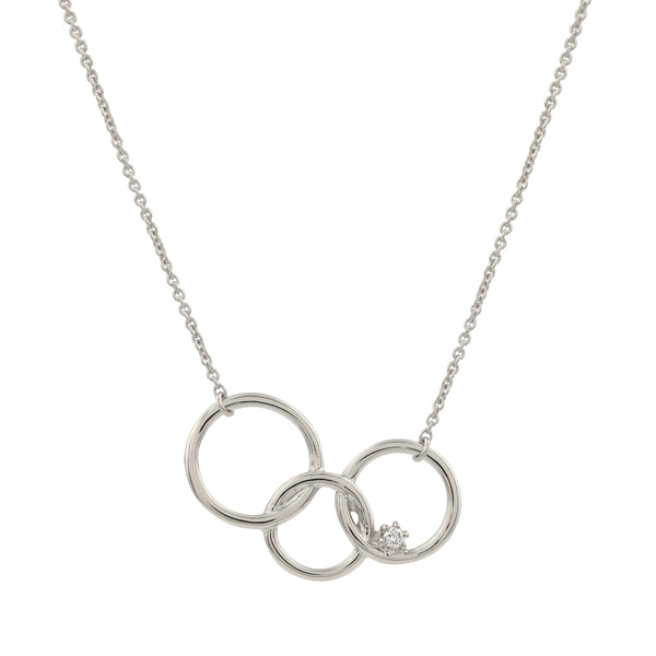 Interlinked Circle Diamond Necklace // White Gold