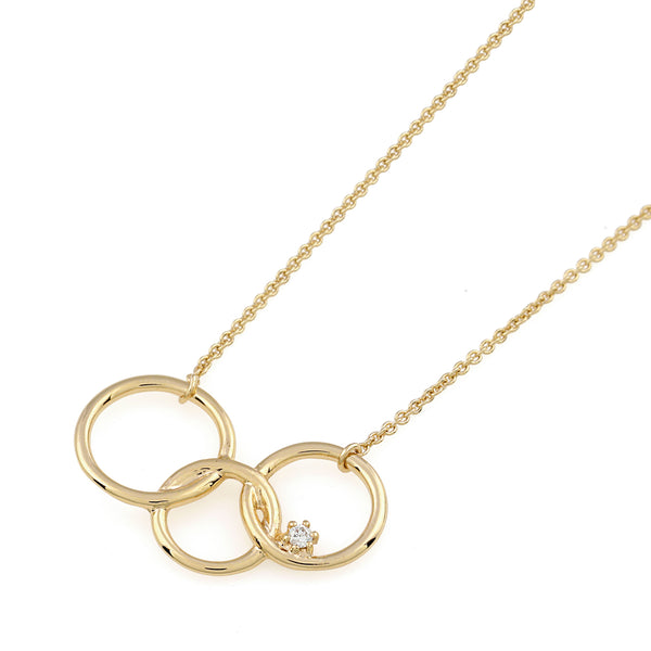 Interlinked Circle Diamond Necklace // Gold