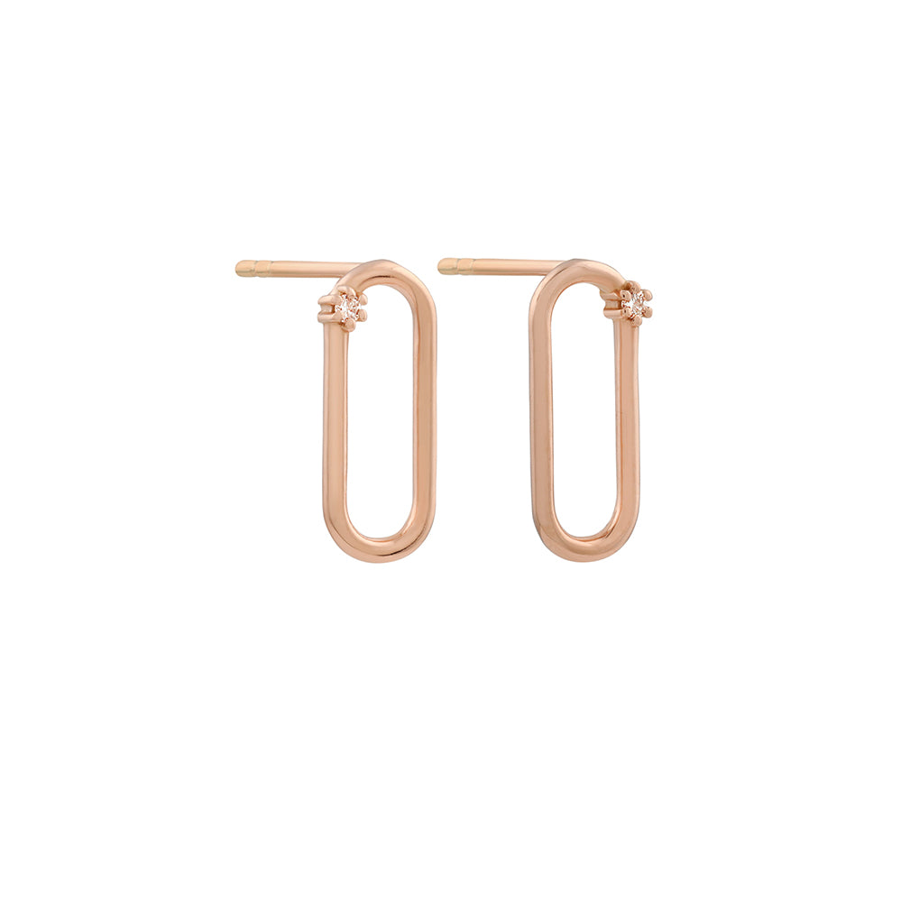Tiny Oblong Diamond Earrings // Rose Gold