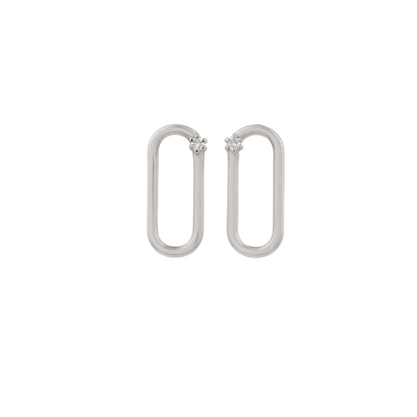 Tiny Oblong Diamond Earrings // White Gold