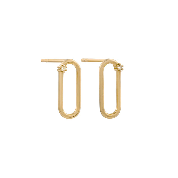 Tiny Oblong Diamond Earrings // Gold