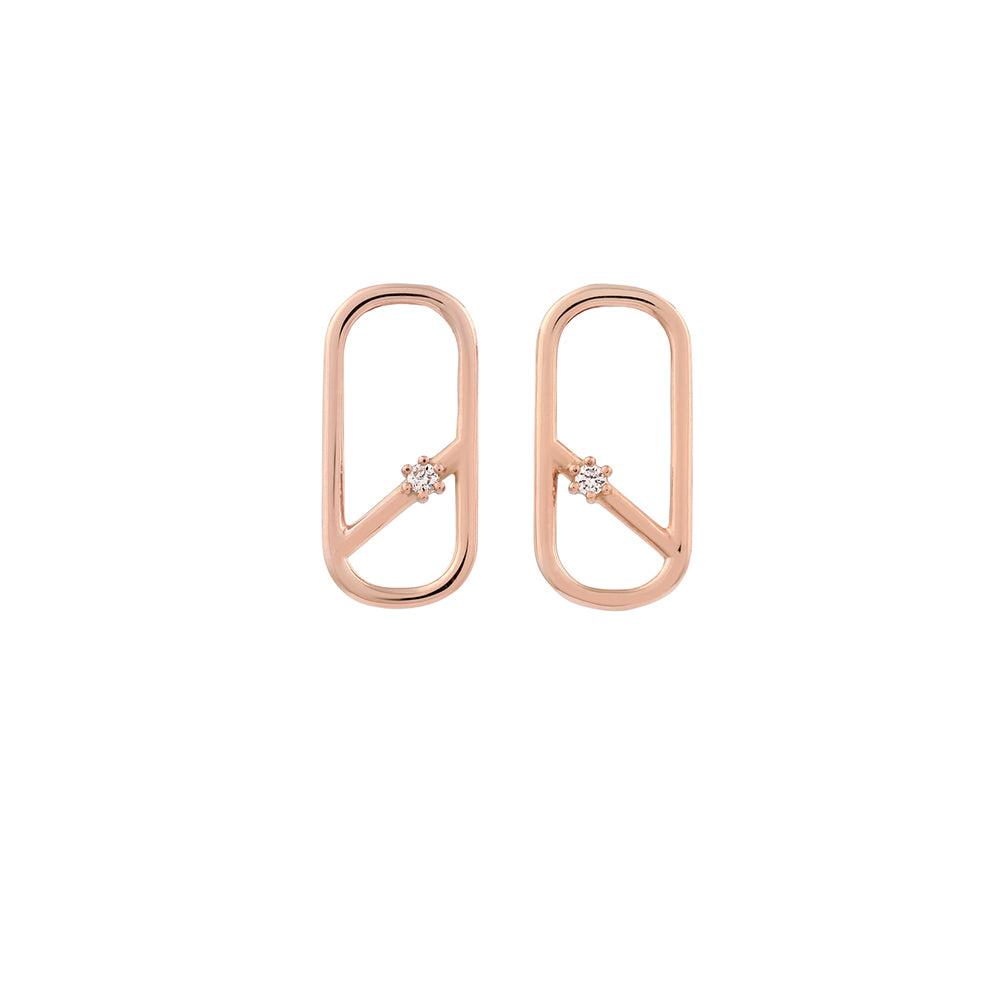 Diagonal Oblong Diamond Earrings // Rose Gold