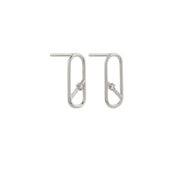 Diagonal Oblong Diamond Earrings // White Gold
