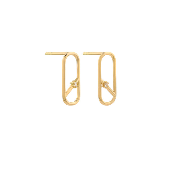 Diagonal Oblong Diamond Earrings // Gold