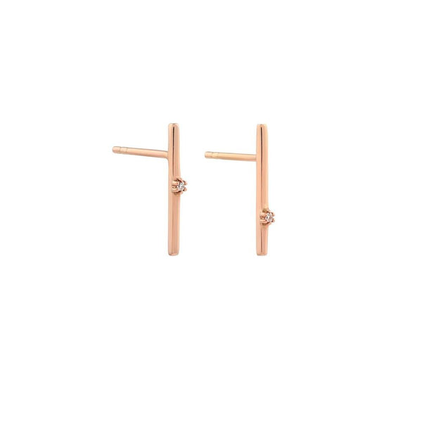 Balance Diamond Earrings // Rose Gold - Lucy & Mui
