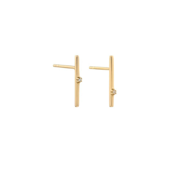 Balance Diamond Earrings // Gold - Lucy & Mui