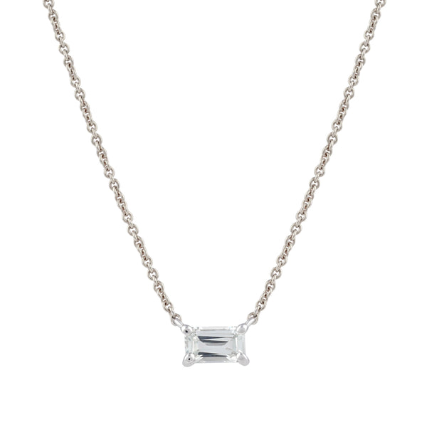 Octagon Sapphire Necklace // White Gold