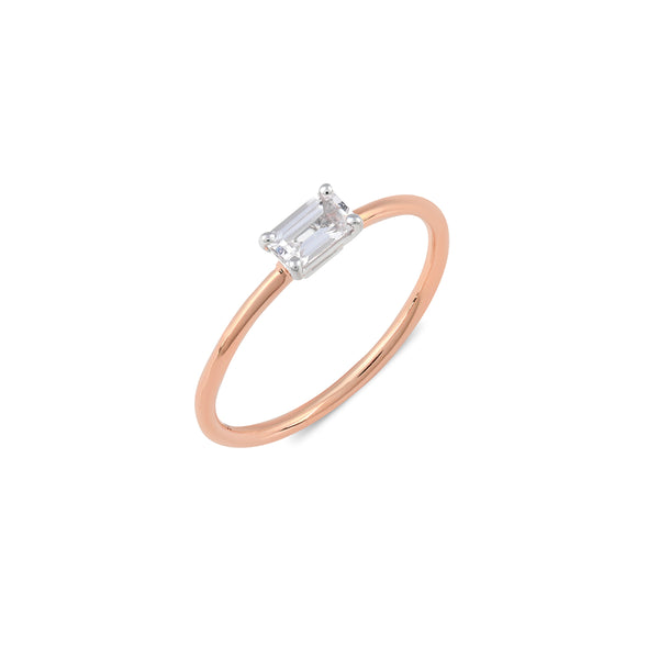 Octagon Sapphire Engagement Ring // Rose Gold