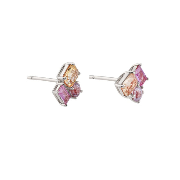 Prism Sunset Sapphire Earrings // White Gold