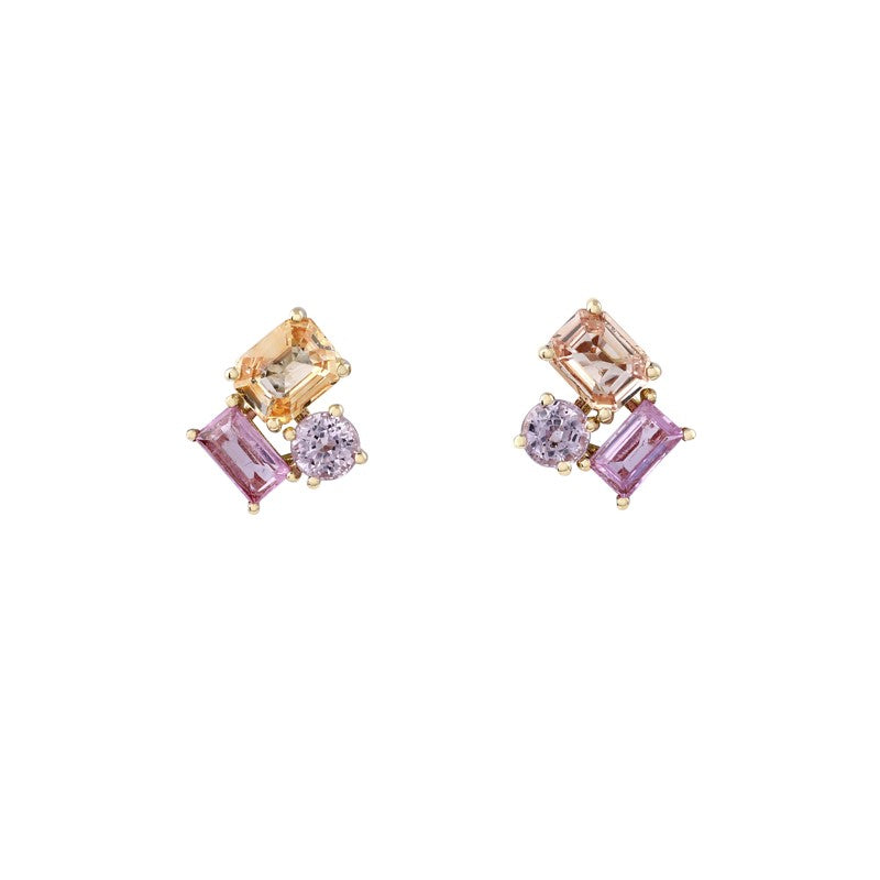 Prism Sunset Sapphire Earrings // Gold