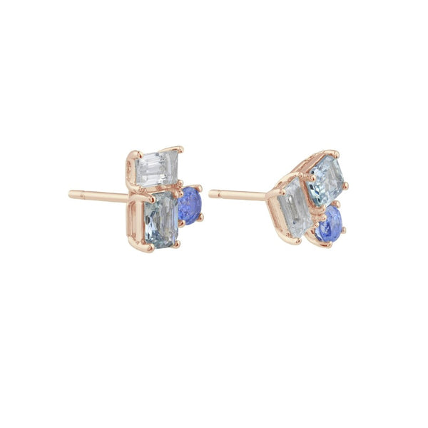 Prism Sky Sapphire Earrings // Rose Gold