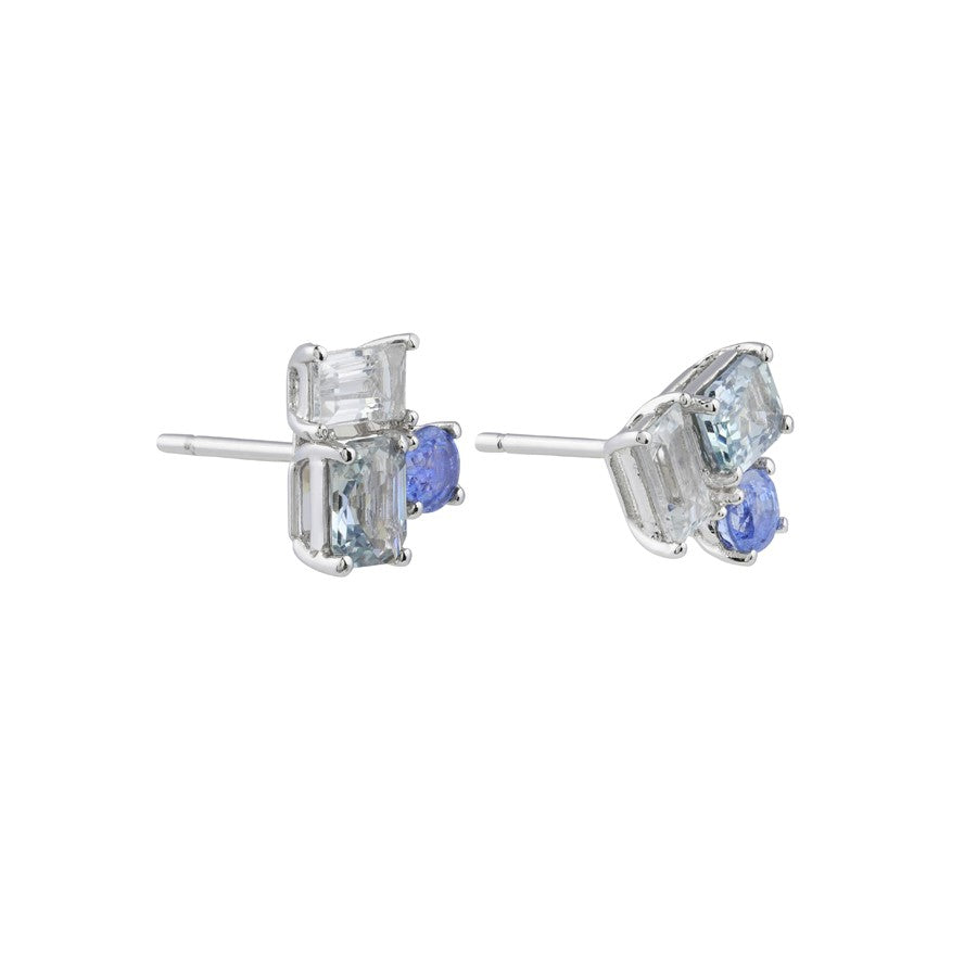 Prism Sky Sapphire Earrings // White Gold