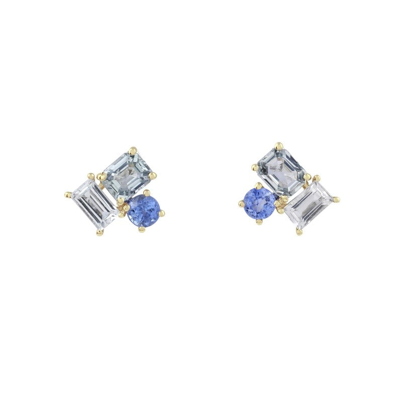 Prism Sky Sapphire Earrings // Gold