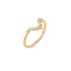 Curved Light Diamond Wedding Band // Gold