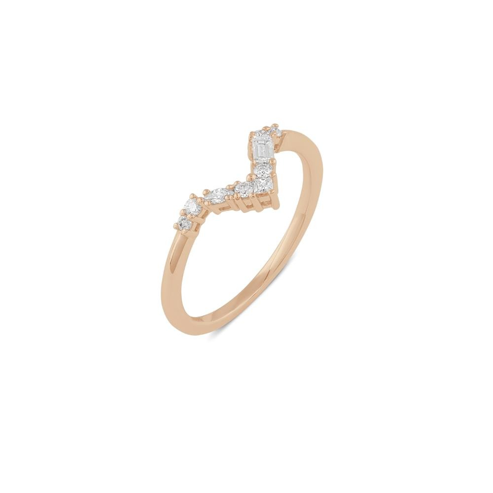 Blanca Curved Diamond Wedding Band // Rose Gold