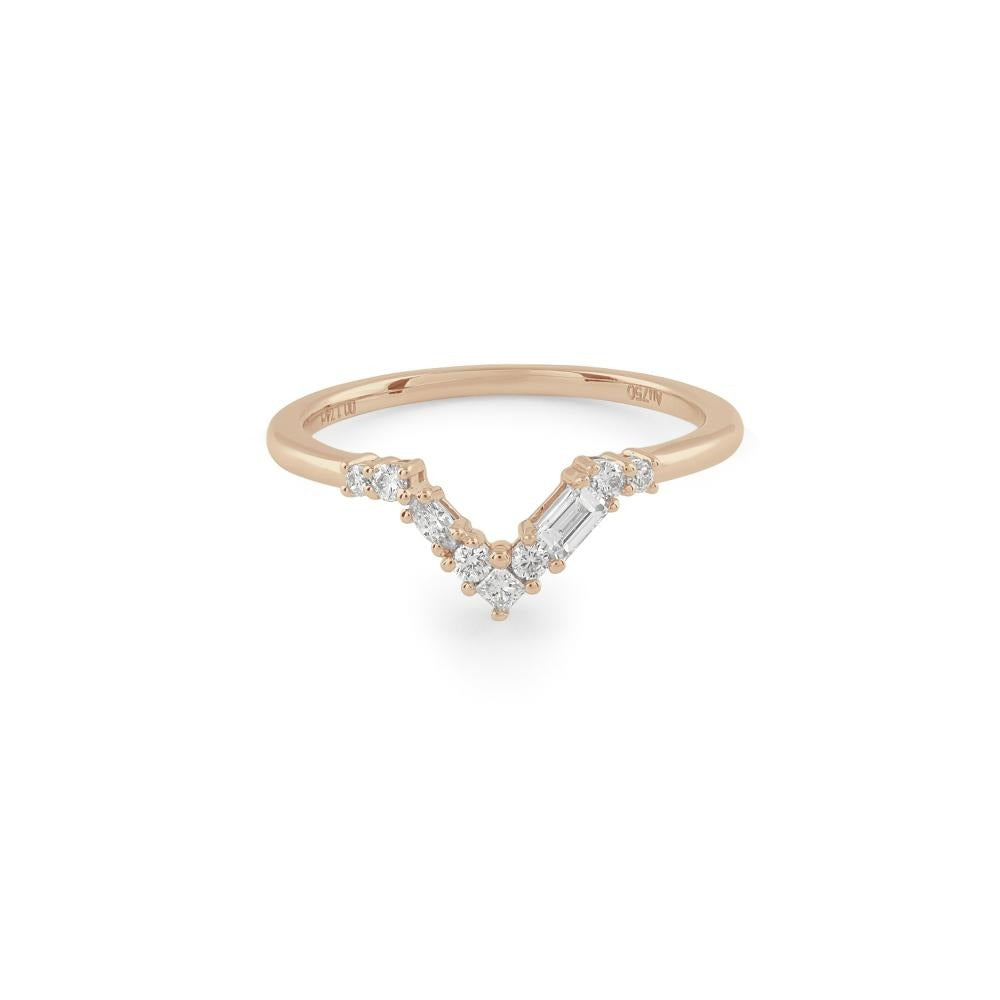 Blanca Curved Diamond Wedding Band // Rose Gold - Lucy & Mui